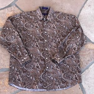 Alan Flusser men's paisley pattern shirt large